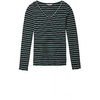 Sandwich Clothing Green & Black Striped Top