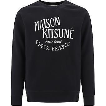 Maison Kitsuné Am00300km0001black Men-apos;s Black Cotton Sweatshirt