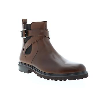 Zanzara Jamin  Mens Brown Leather Zipper Chelsea Boots