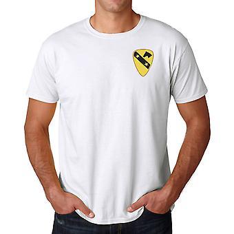 US Army 1 kavaleri DUI Crest brodert Logo - ringspunnet bomull T-skjorte