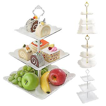 Three Layer Fruit Plate Cake Stand Used For Dessert Vegetable Storage