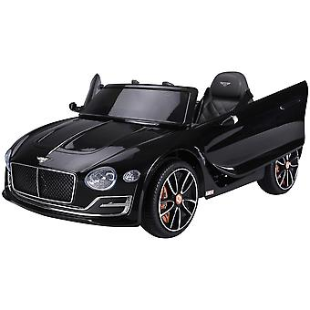 HOMCOM Compatible Electric Kids Ride On Car Bentley GT 12V Battery Powered Toy Two Motors with LED Light Music Parental Remote Control for 3 - 5 Years Black Bentley