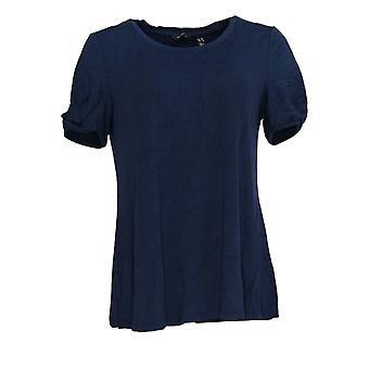 H by Halston Women's Top Knit Crepe w/ Twist Sleeve Detail Blue A311449