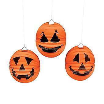 6 Tissue Paper Halloween Pumpkin Hanging Lantern Decoraties