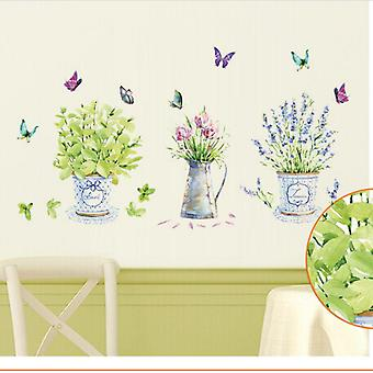 Home Decor Potted Flower Wall Pegatinas de pared