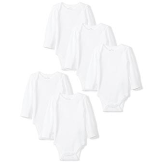 Moon and Back Baby Set of 5 Organic Long-Sleeve Bodysuits, White Cloud, 18 Mo...