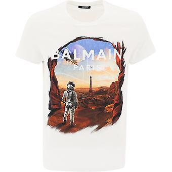Balmain Uh01601i373aaa Men's White Cotton T-shirt