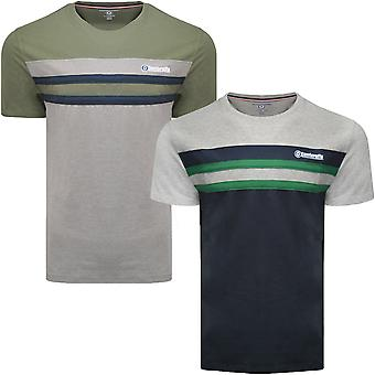 Lambretta Mens Stripe Stretch Casual Fashion Crew Neck Cotton T-Shirt Tee Top