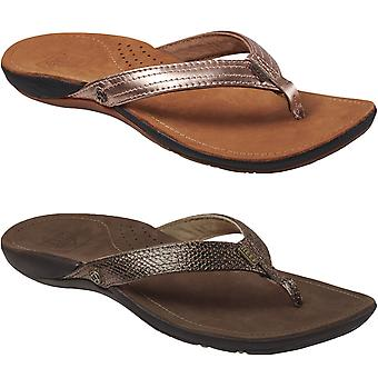 Reef Womens Miss J-Bay Leather Pool Beach Slip On Flip Flop Thongs Sandals