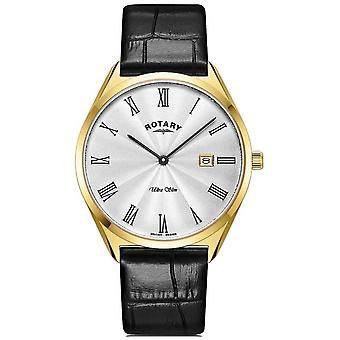 Rotary Men's Ultra Slim | Gold PVD Plated Case | Black Leather Strap GS08013/01 Watch