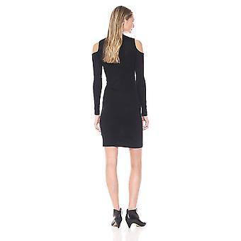 Allison Brittney Women's Lace Up Chocker Nk L/SLV Dress, Black Beauty, L