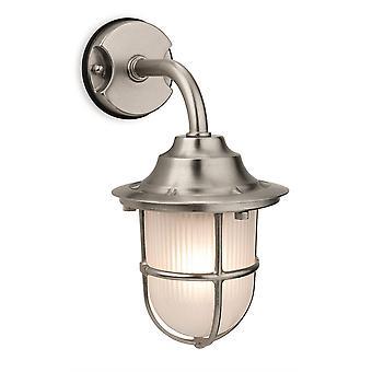 1 Lichte buitenmuur licht nikkel, matglas IP64, E27