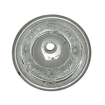 """Decorativo motivo floreale rotondo drop-in vasca con traboccamento e uno scarico centrale 1 1/4"""" - acciaio inossidabile lucido"""