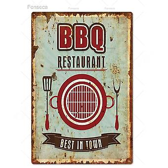 Vintage Dad's Bbq Metal Tin Sign - Plaque Metal Wall Decor For Barbecue, Bar,