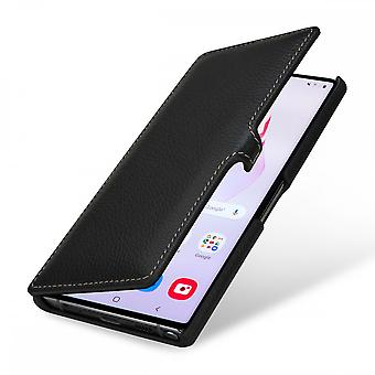 Case For Samsung Galaxy Note 10 Book Type Grained Black In True Leather With Clip