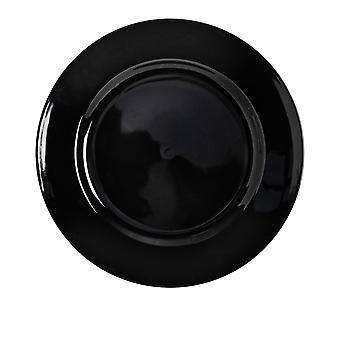 Argon Tableware Single Round Charger Plate - Brushed Metallic Finish - 33cm - Black