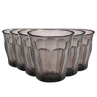Duralex Picardie Gekleurde Glazen - 250ml Tuimelaars voor water, sap - grijs - Pak van 12