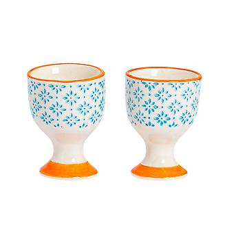 Nicola Spring 2 Piece Hand-Printed Egg Cup Set - Japanese Style Porcelain Breakfast Hard Soft Boiled Eggs Holder - Blue