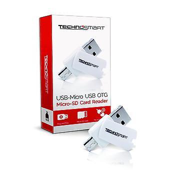 TECHNOSMART Micro SD-kortinlukija, USB-OTG Mirco USB-muisti kortit, PC, kannettava tieto kone, tabletti ja älypuhelin, 2 in 1 USB-tikku (SD, SDHC)
