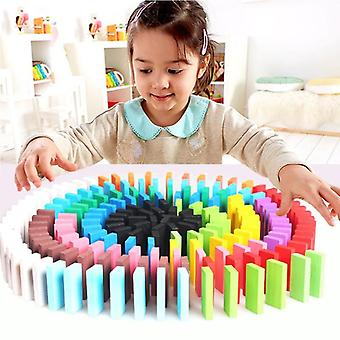 Children Wooden Toys Colored Domino Blocks Kits For Early Learning