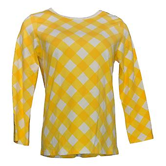 Bob Mackie Women's Top Gingham Check Pullover Yellow A303016