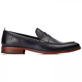 Base London Lens Washed Mens Leather Loafers Navy