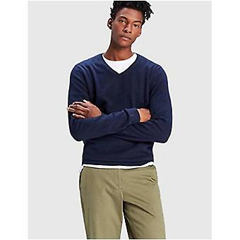 Encontrar. Men's Cotton V-Neck Sweater, Azul (Marinha), Grande