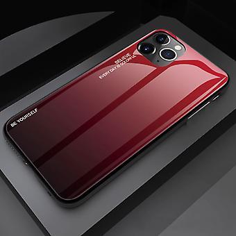דברים מאושרים® iPhone 11 מארז הדרגתי - TPU וזכוכית 9H - כיסוי מארז מבריק עמיד לזעזועים Cas TPU אדום