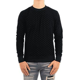 Balmain Monogram Flock Jersey Sweatshi Black UH03277I378EAP Top