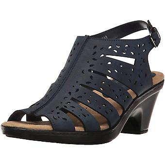 Easy Street Womens Kamber Leather Peep Toe Casual Slingback Sandals