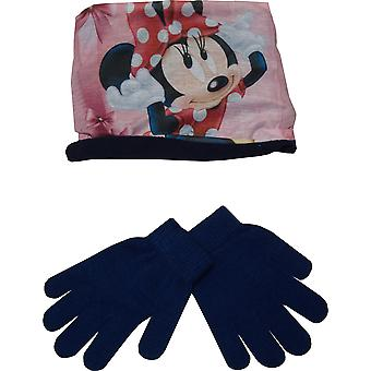 Dívky RH4123 Disney Minnie Mouse Winter 2 ks set Rukavice a krk teplejší límec