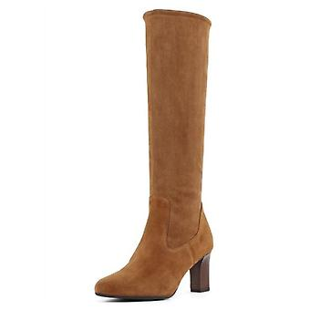Peter Kaiser Monja-a Pull On Stretch Knee High Boots In Peanut Suede