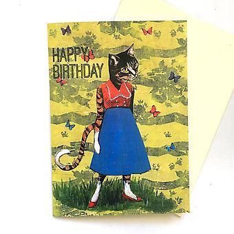 ريترو القط بطاقة عيد ميلاد سعيد