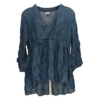 Laurie Felt Women's Top Denim V-Neck Boho Blue A378821