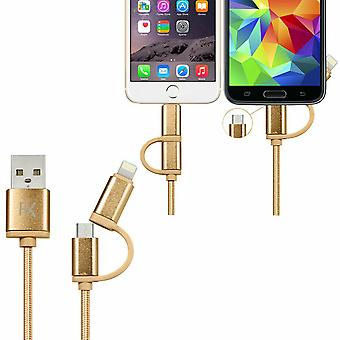 FX 2 in 1 Braided Charge & Sync Cable - 3m : Gold