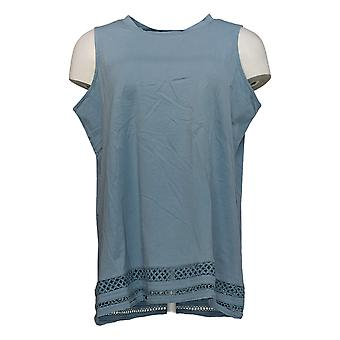 DG2 por Diane Gilman Women's Top Blue Tank Cotton Sleeveless 725-598