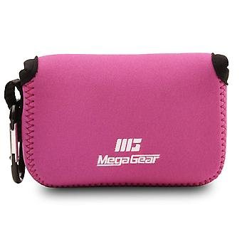 Megagear ultra light neoprene camera case compatible with nikon coolpix w150, w100, s33 hot pink
