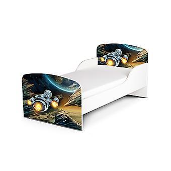 PriceRightHome Statek kosmiczny Łóżko dla małych dzieci plus materac z włókna