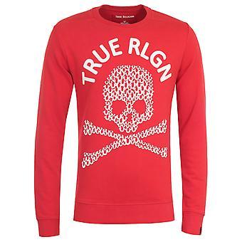 True Religion Skull Print Red Sweatshirt
