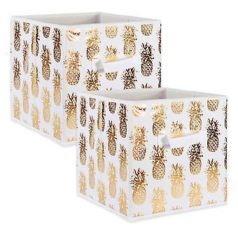 Dii Nonwoven Polyester Cube Pineapple White/Gold Square (Set Di 2)