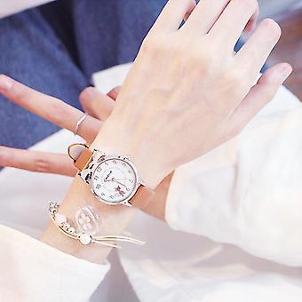 Studenci Pink Leather Child Godziny Cat Kwarcowy zegarek na rękę