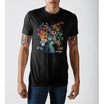 Personagens do megaman da Capcom gráfica impressão camisa preta