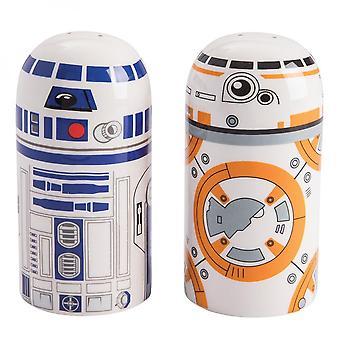 Set di sale e pepe scolpito star wars BB-8 e R2-D2