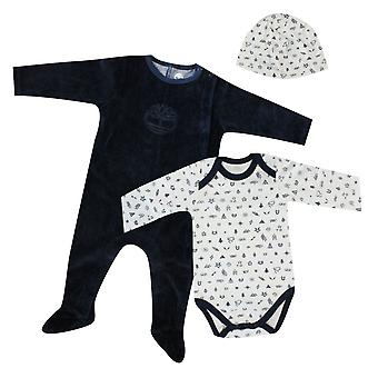 Timberland Long Sleeve Overall Baby Grow Hat Boys Pyjama Set A1BLC 410 A183E