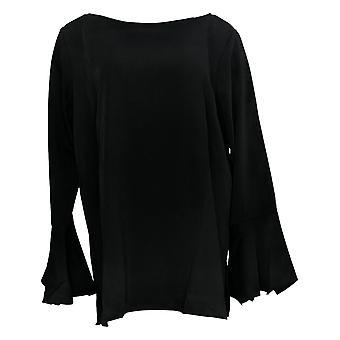 Linea por Louis Dell'Olio Women's Top Blouse W/ Sleeve Detail Black A302549