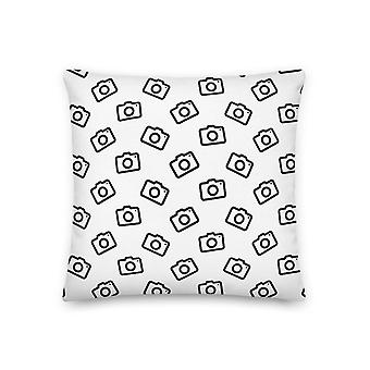 Cushion with camera pattern