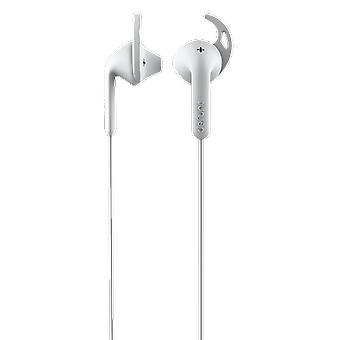 Defunc Go Sport 3.5mm Earbuds for Runners Sweatproof Compatible with iPhone 6s Plus, 6 Plus, 6s, 6, 5s, 5c, 5, 4s, 4, SE, Samsung and Android with Mic and Remote - White