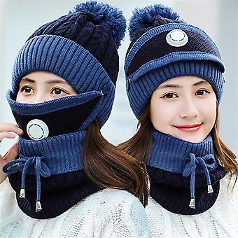 女性編みウールスカーフ帽子
