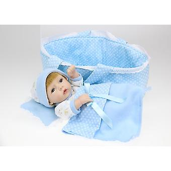 Handmade Real Looking Vinyl Silicone Newborn Baby Boy Doll With Bed