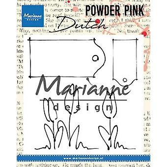 Marianne Design Clear Stamp P. Różowy - Tulipany & Etykiety Pp2801 83x85 mm